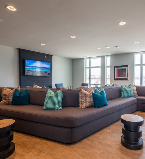 Common lounge area for residents at The Langford in Dallas, Texas