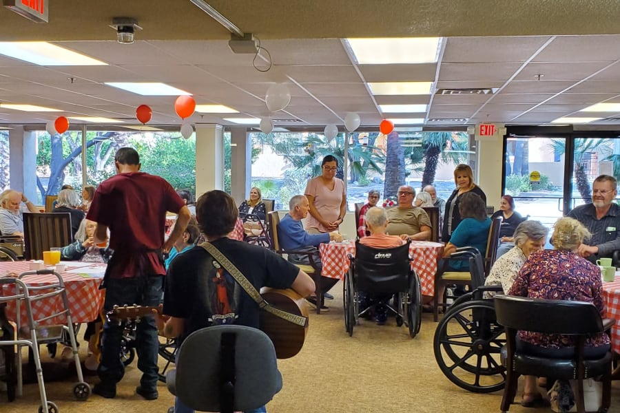 Contact us to learn more about our dining at Woodland Palms Memory Care
