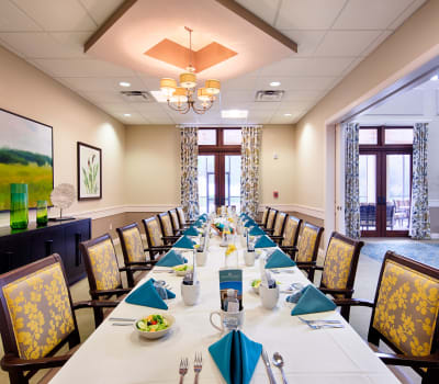 Formal dining room at The Fountains of Hope in Sarasota, Florida.