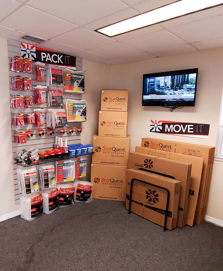 Packing supplies available at StorQuest Self Storage in Tampa, Florida