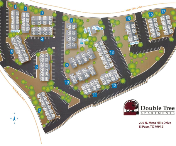 Site map for Double Tree Apartments in El Paso, Texas