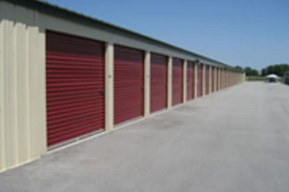 Garage style roll up doors on self storage units at StayLock Storage in Auburn, Indiana