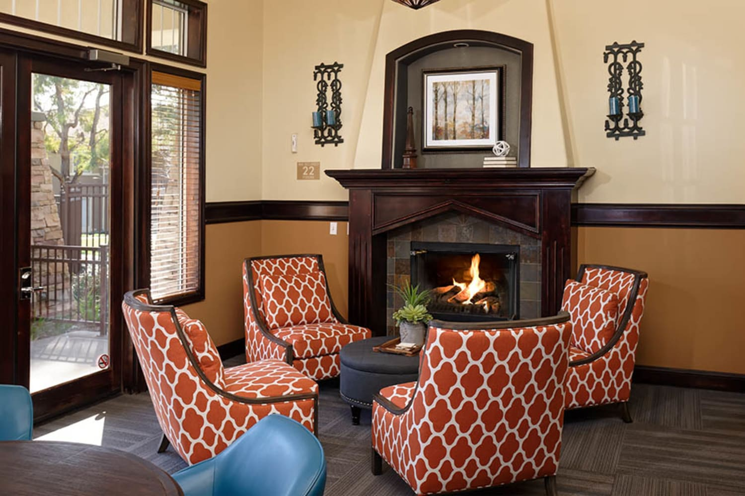 Fireplace in clubhouse at Camino Real in Rancho Cucamonga, California