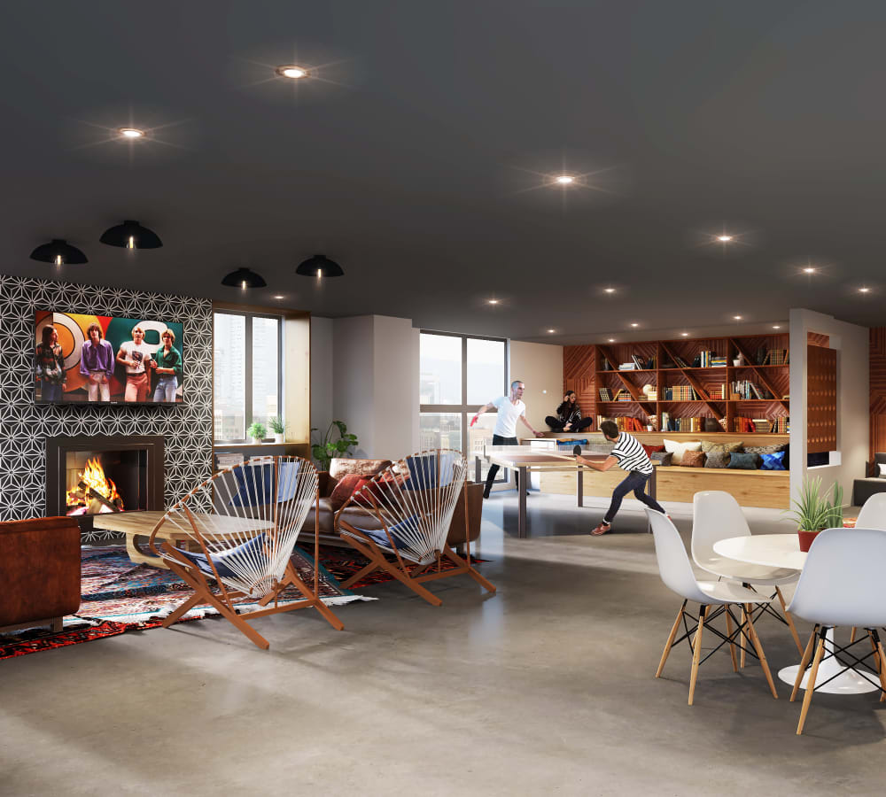 Living room rendering of 4th + J in San Diego, California