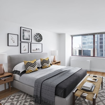 Spacious master bedroom at The Ellington in New York, New York