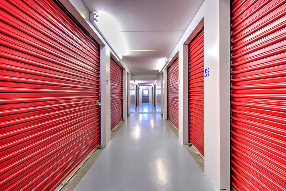 Hallway of storage units at Safe Storage in Lexington, Kentucky
