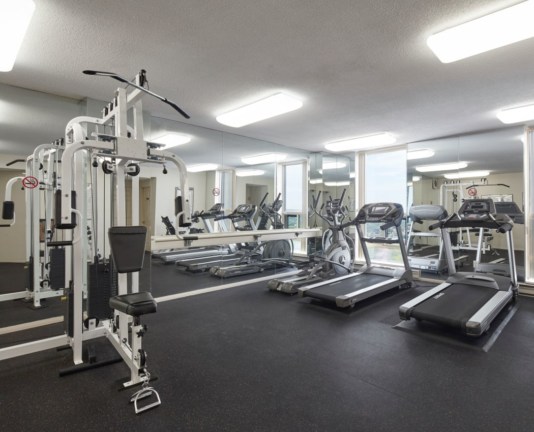 Modern fitness center at Bristol Court in Mississauga, Ontario