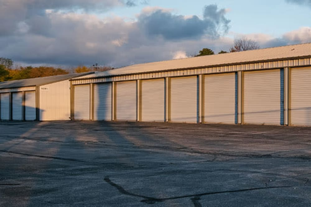 A row of exterior storage units at StayLock Storage in Valparaiso, Indiana