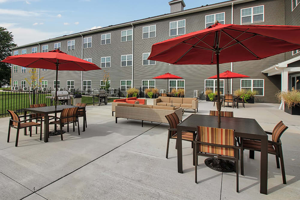 Outdoor patio at Village Heights Senior Apartments in Fairport, New York