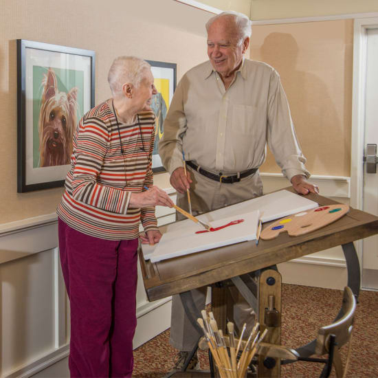 Resident painting at Carefield Pleasanton in Pleasanton, California
