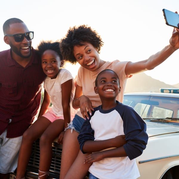 Residents taking a selfie near Olympus Rodeo in Santa Fe, New Mexico