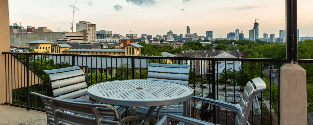 View from rooftop patio at Regents West at 24th in Austin.
