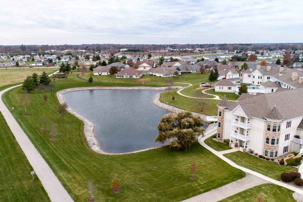 Aerial view of pond at Waterford Crossing