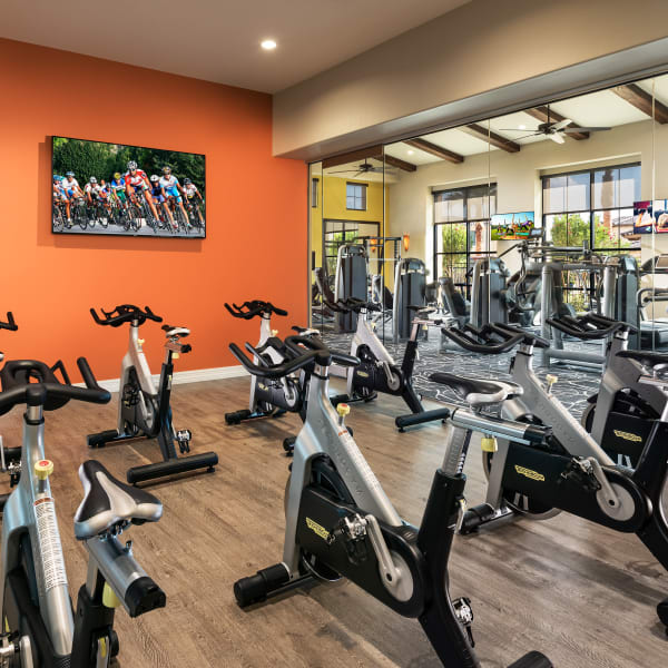 Resident fitness center with spin bikes at San Posada in Mesa, Arizona