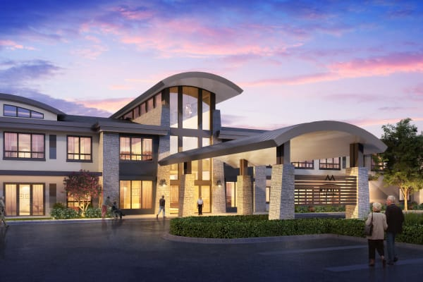 Rendering of the front entrance at Merrill Gardens at Brentwood in Brentwood, California.