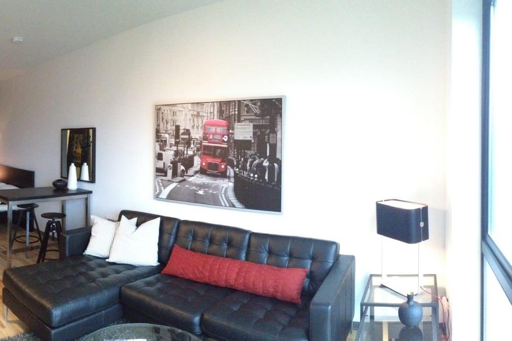 Studio apartment living room at Milano in Portland, Oregon