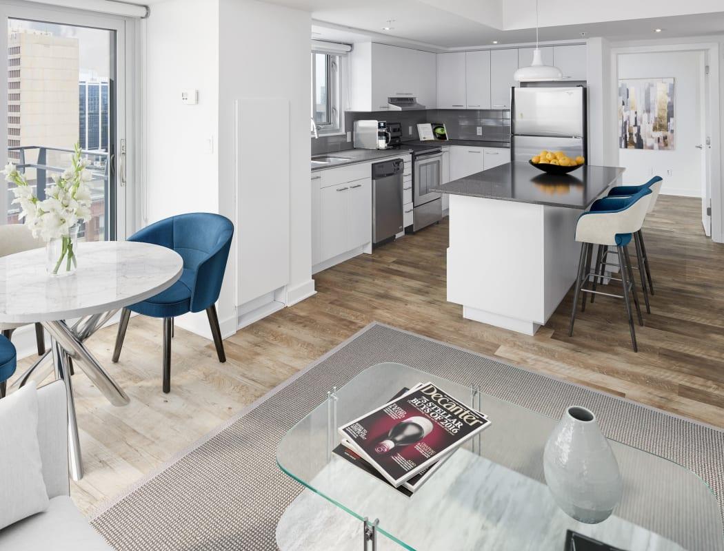 Spacious floor plan with hardwood flooring at 19Twenty Apartments in Halifax, Nova Scotia