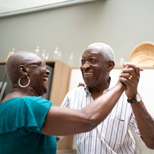 Residents dancing at Kenmore Senior Living in Kenmore, Washington.