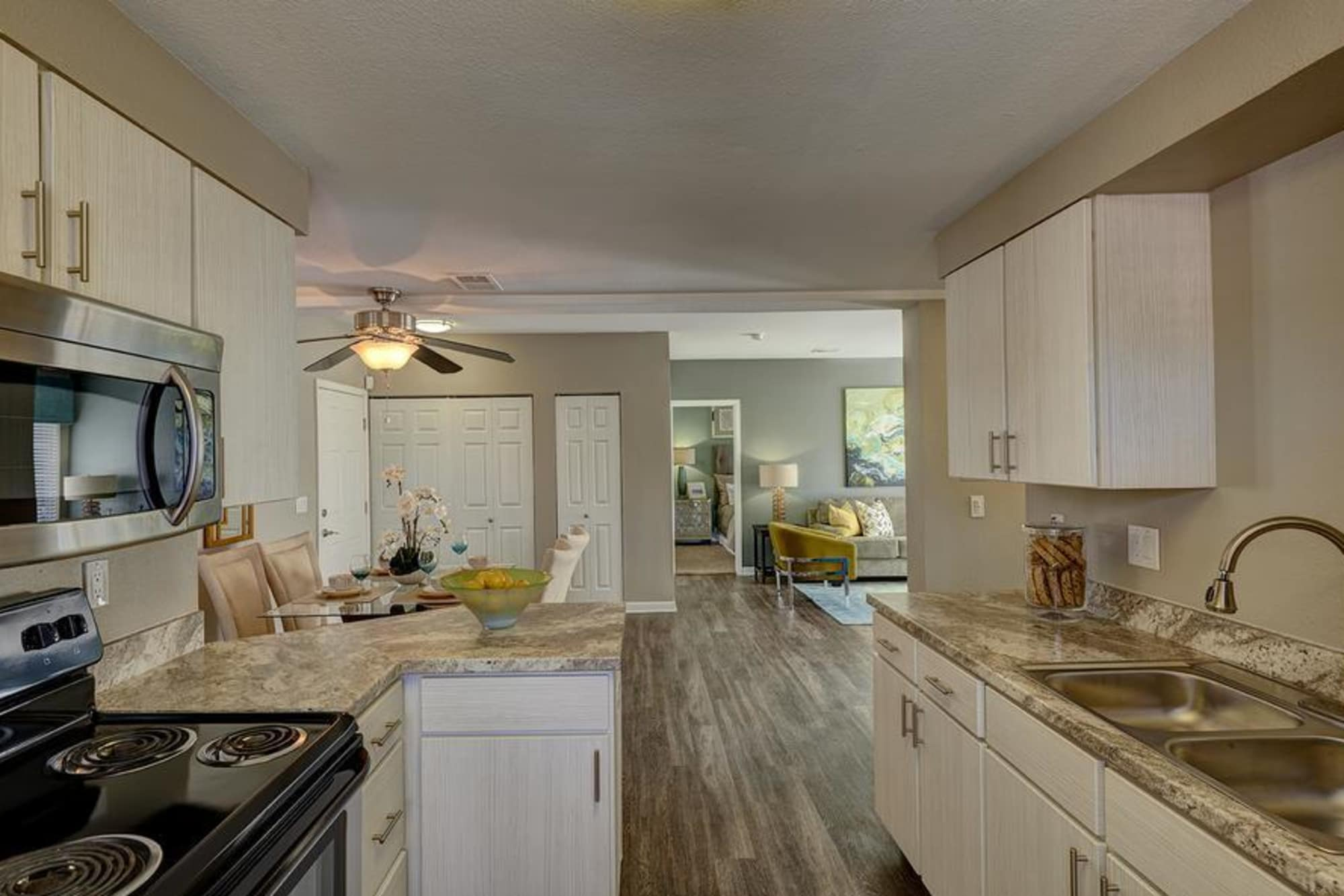 Well organized kitchen in our open floor plans at Villas at Homestead Apartments in Englewood