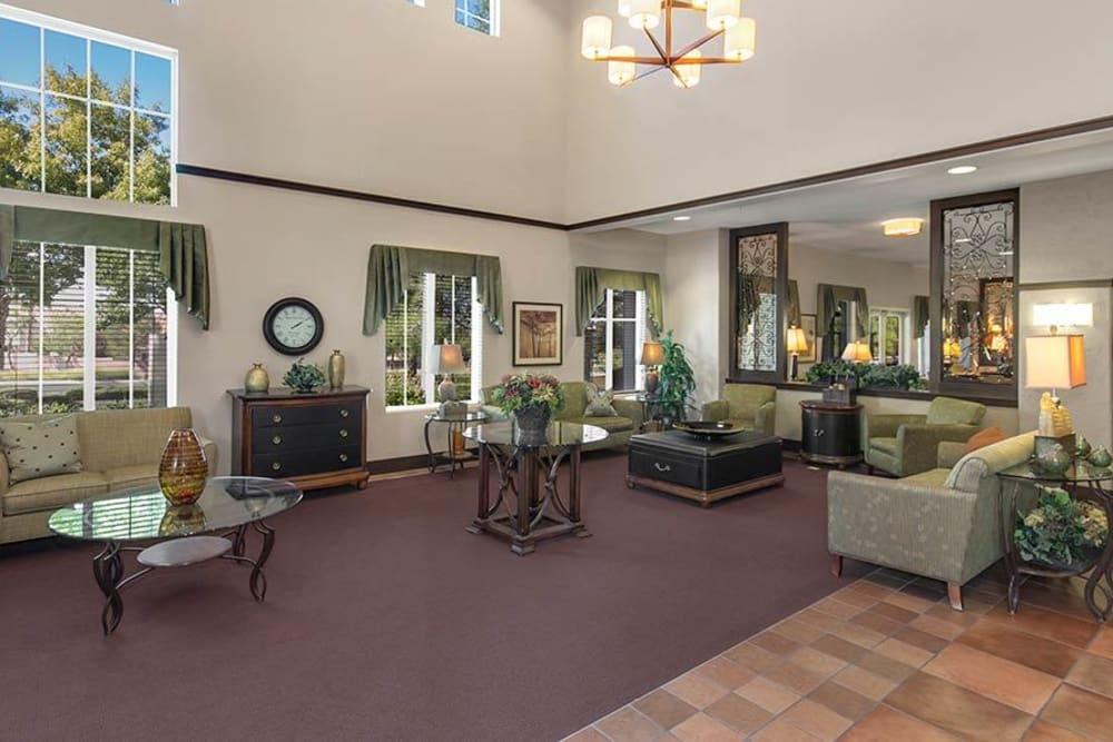 Large lobby at Merrill Gardens at Green Valley Ranch in Henderson, Nevada.