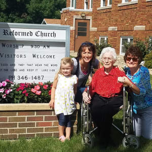 Resident Irene with her family at a dare to dream event from Arlington Place Oelwein in Oelwein, Iowa.