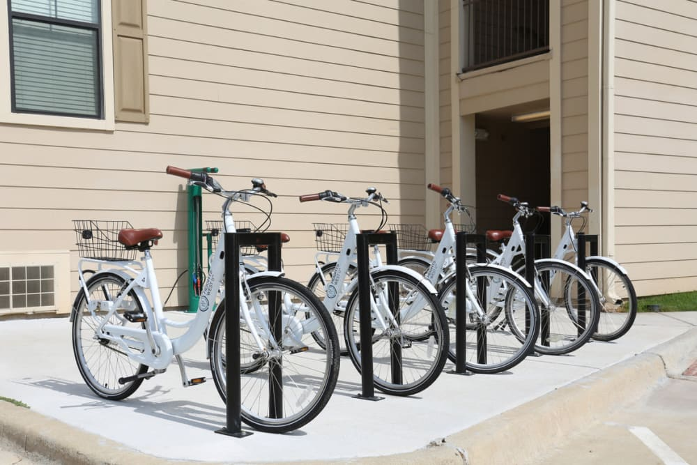 Rack of bike share bikes at Heights West 11th in Houston, Texas