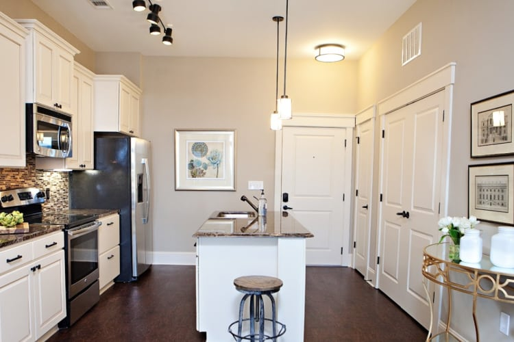 Kitchen and dining room at Bradford Luxury Apartments & Townhomes in Cary