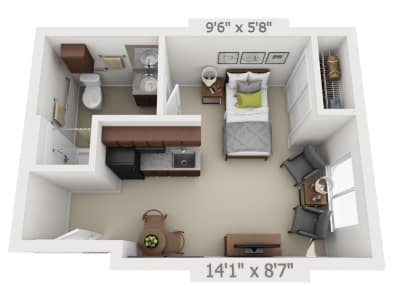 Studio floor plans at Pine Grove Crossing