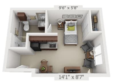 Studio floor plans at Pine Grove Crossing