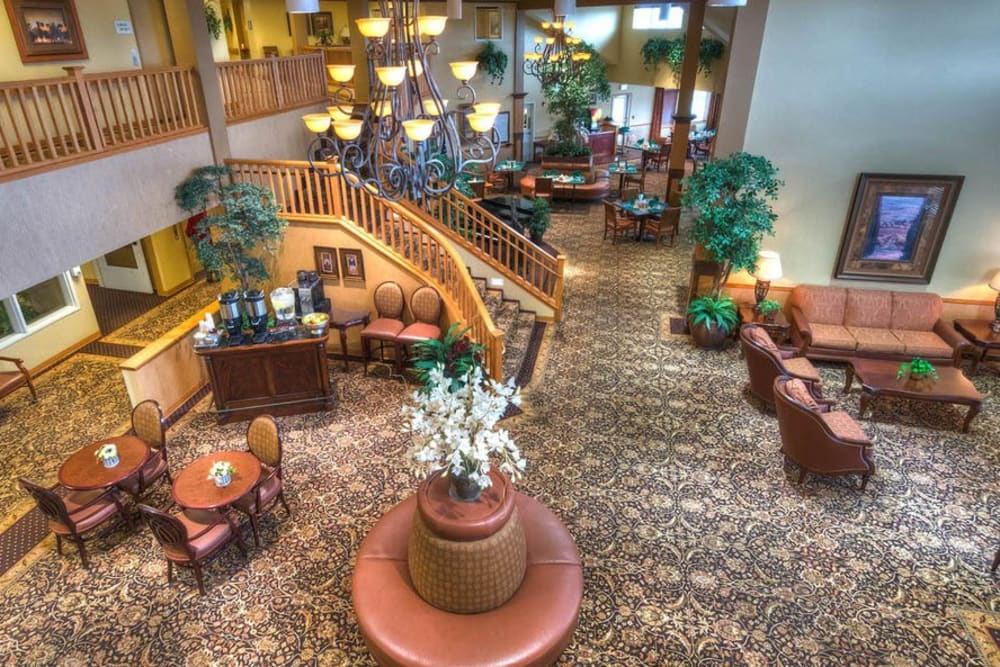 Aerial view of lobby at Bishop Place Senior Living in Pullman, Washington