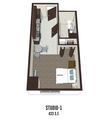 Independent living Studio 1 is 433 square feet at Smith's Mill Health Campus in New Albany, Ohio.