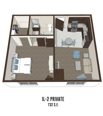 Independent living private room 2 is 732 square feet at New Albany in New Albany, Ohio.
