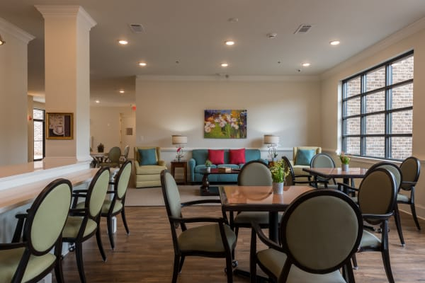 Dining area at the senior facility at Traditions of Lansdale in Lansdale, Pennsylvania