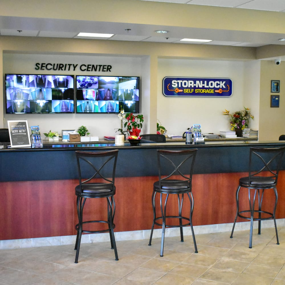 Inside the welcoming office at STOR-N-LOCK Self Storage in Rancho Cucamonga, California
