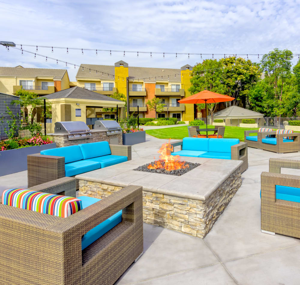 Luxurious outdoor lounge around the fire pit at Sofi Irvine in Irvine, California