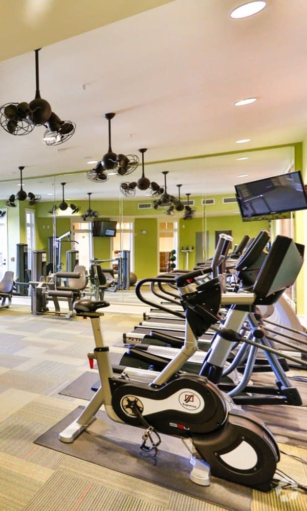 Full sized state of the art fitness center at Fountains at Mooresville Town Square in Mooresville, North Carolina