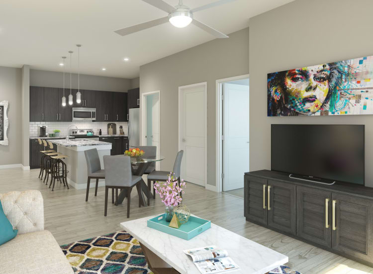 Rendering of interior living space at Alta Warp + Weft in Charlotte