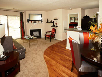 Spacious living and dining room at Middletown Brooke Apartment Homes
