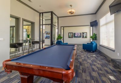 Billiards table in the resident clubhouse at Evolv in Mansfield, Texas