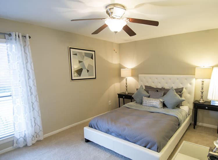 Spacious bedroom at Stonecrossing of Westchase in Houston, Texas.