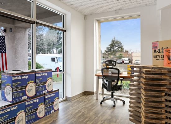 Boxes and Bubble Wrap in the office of A-1 Self Storage in San Jose, California