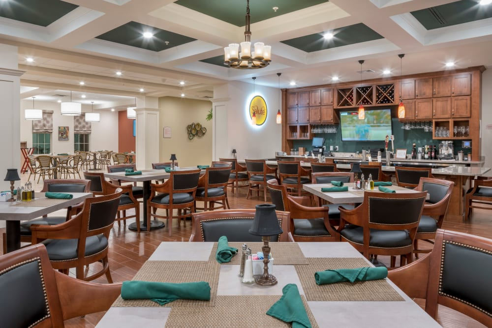 Dining room at Merrill Gardens at ChampionsGate in ChampionsGate, Florida.