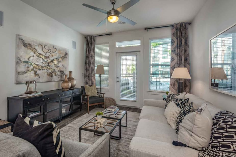 A living room that is great for entertaining at apartments in Jacksonville, Florida