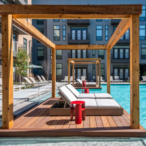 Amazing poolside lounge areas to enjoy the sun near the pool at The Langford in Dallas, Texas