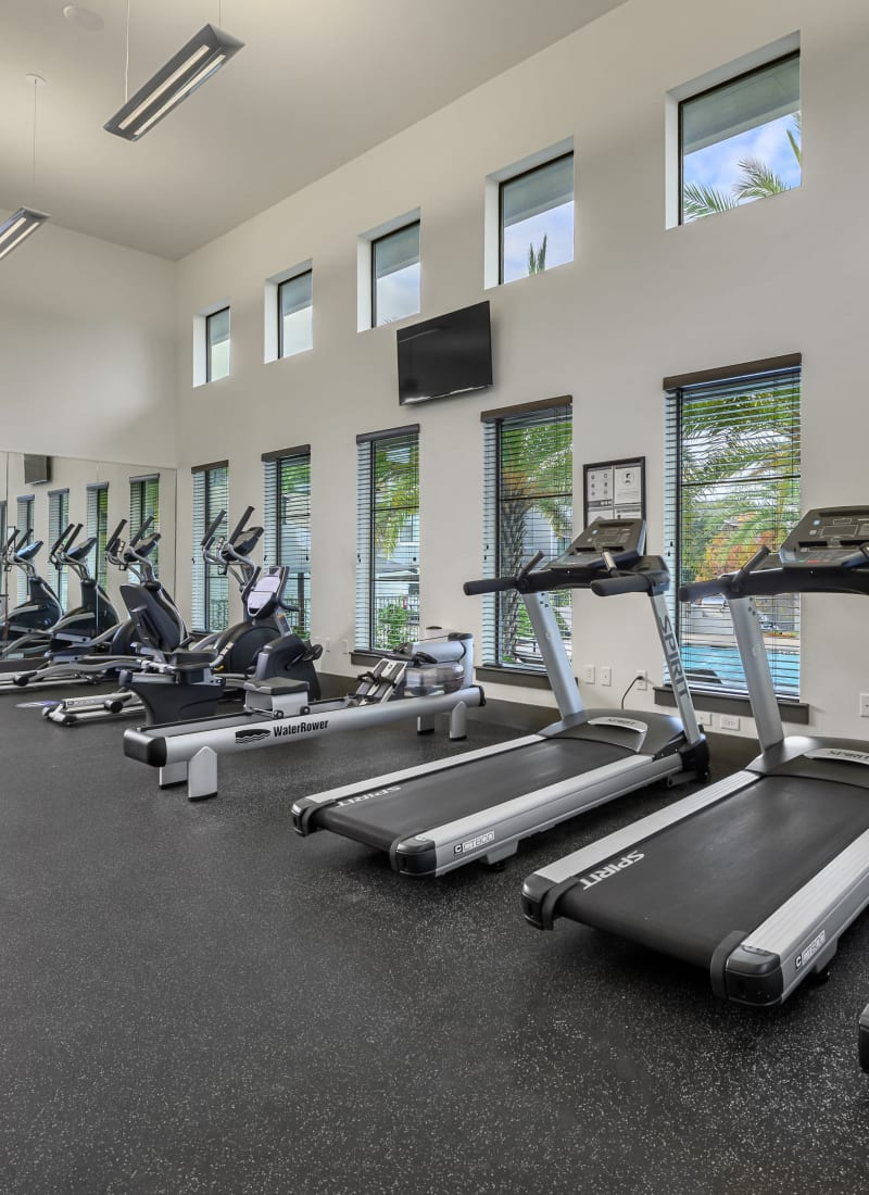 Row of treadmills in the fitness center Marquis SoCo in Austin, Texas