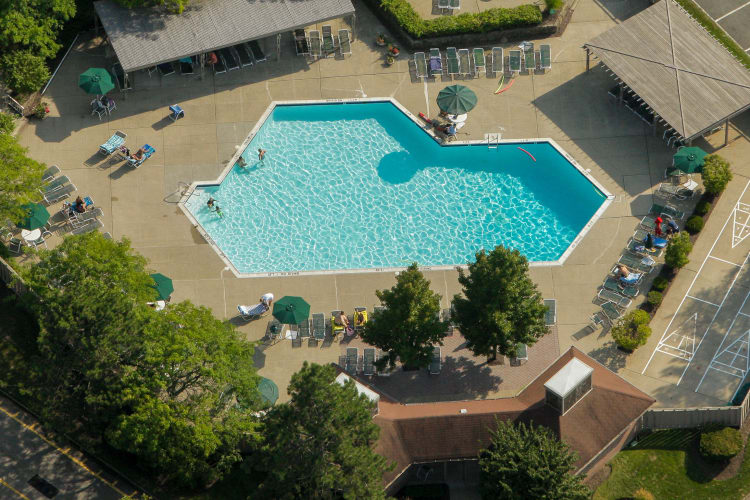 Aerial view of spectacular swimming pool at Everly Roseland in Roseland, New Jersey