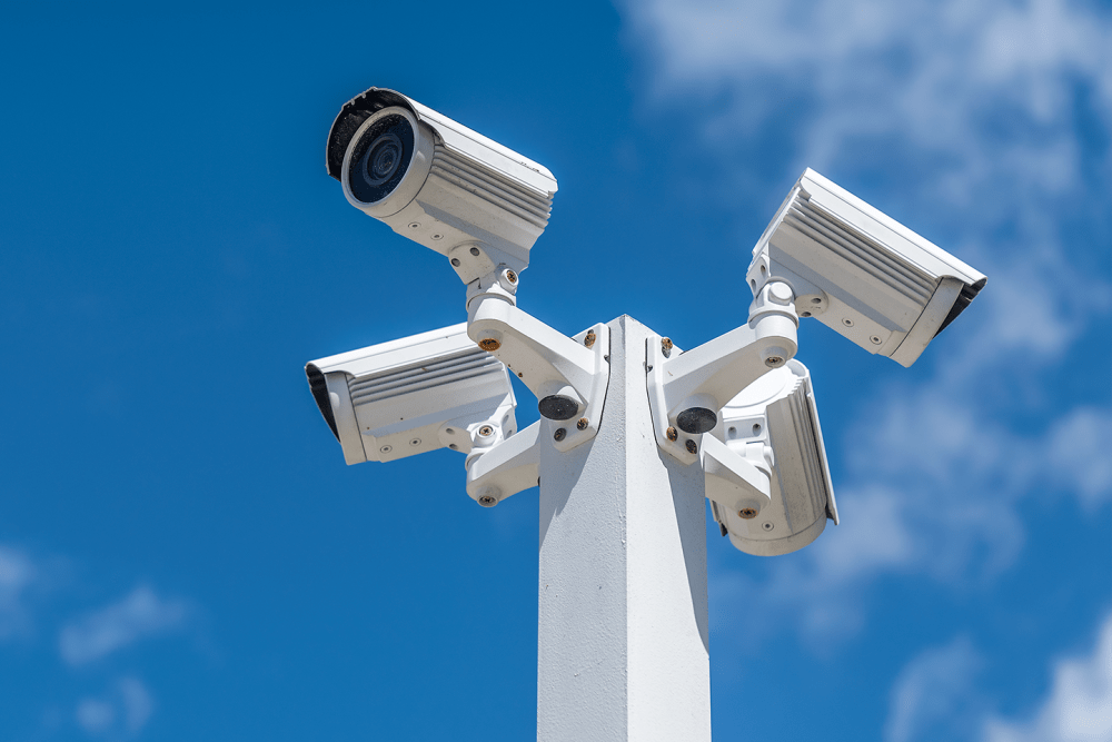 Security cameras mounted on a post at 21st Century Storage in Long Island City, New York