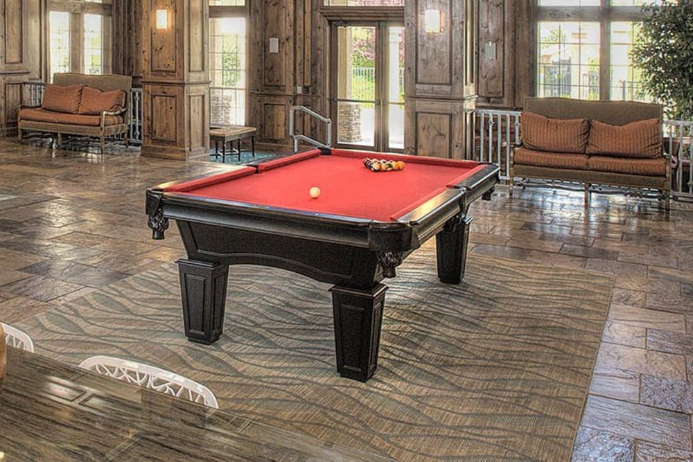 Interior view of the resident clubhouse with a billiards table at The Vintage at South Meadows Condominium Rentals in Reno, Nevada