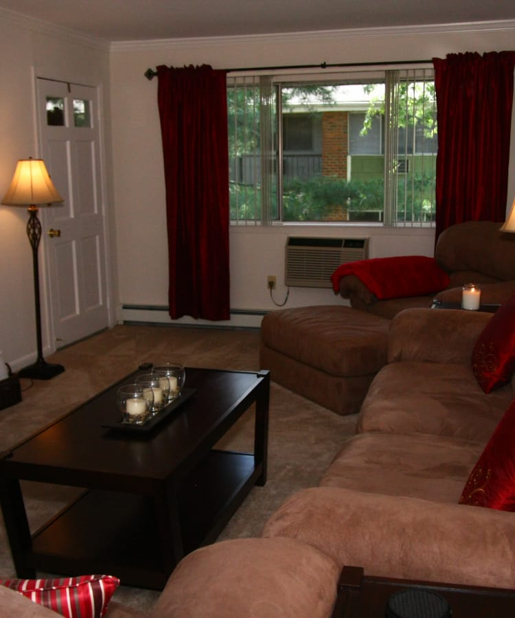 Living room model at Park Apartments
