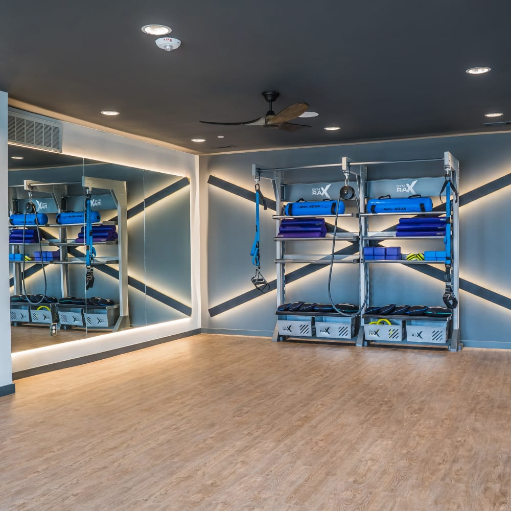 Spacious yoga room at The Langford in Dallas, Texas